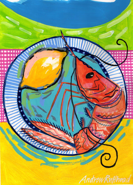 Prawn on blue plate print by Andrew Ruffhead