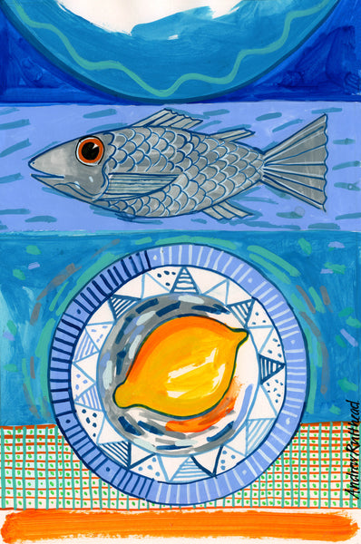 Sea Bass and Lemon print by Andrew Ruffhead