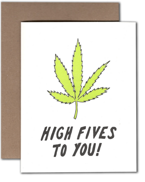Weed High Five  greeting card