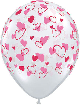 "11""  Clear Balloon with Red and Pink Hearts"