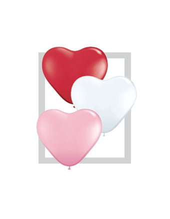 "11""  Red/Pink/White Heart Balloon"