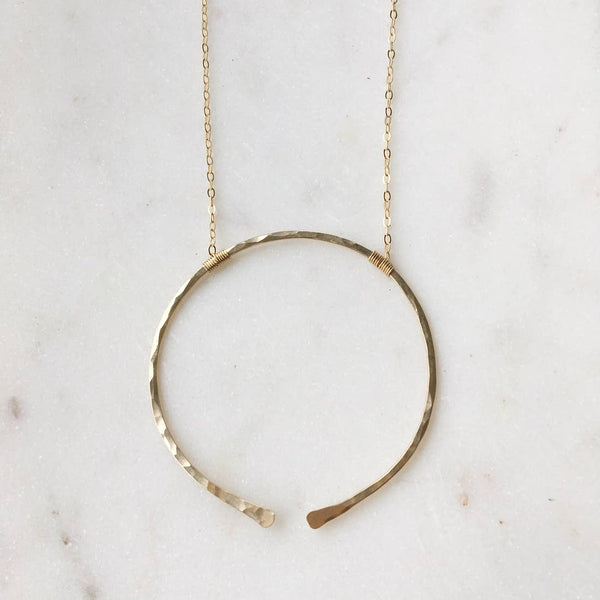 14K Gold Open Circle Necklace
