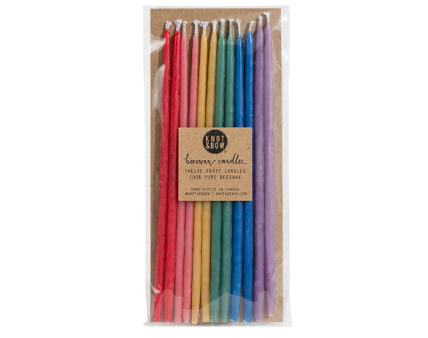 Knot & Bow Tall Beeswax 🌈 Party Candles