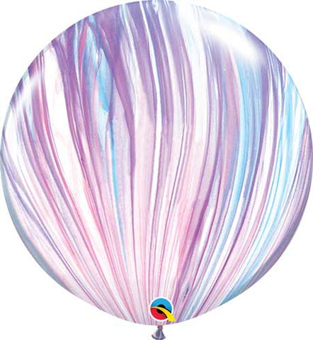"30"" Pink and Blue Marble Agate Balloon"