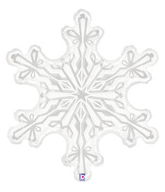"38"" Clear & White Snowflake Shaped Balloon"