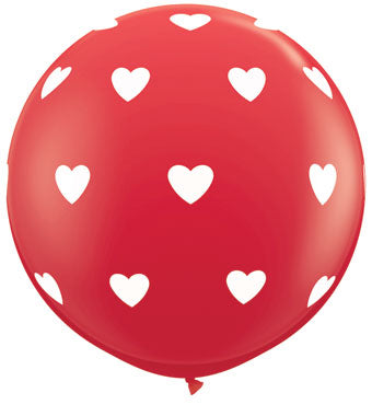 3' Red Balloon with White Hearts