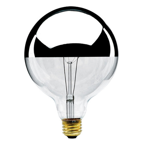 "Half Chrome 6.75"" Globe Light Bulb"