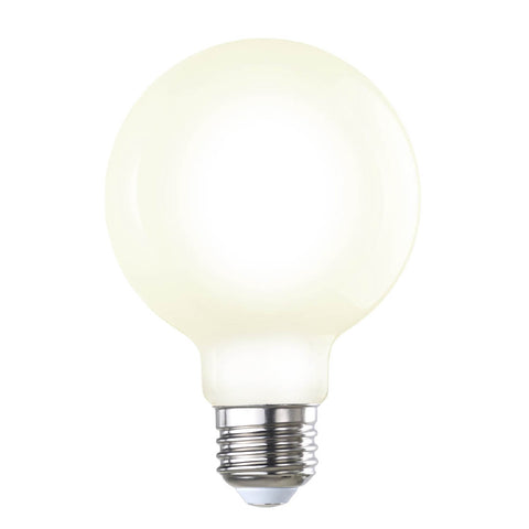 "5"" Milk Glass LED Globe Light Bulb"