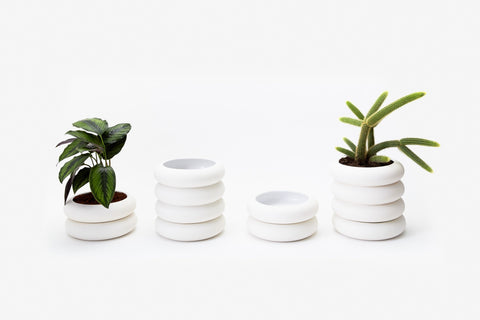 Contemporary White Stacking Planter Areaware