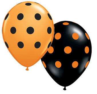 "11"" Black & Orange Polka Dot Balloon"