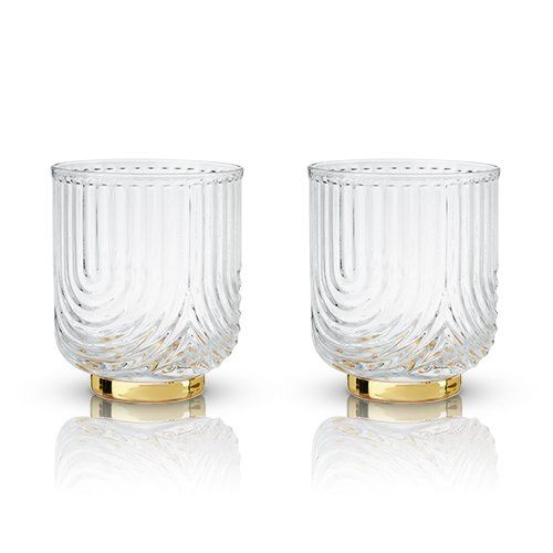 Gold Bottom Glass Gatsby Tumblers (Set of 2)