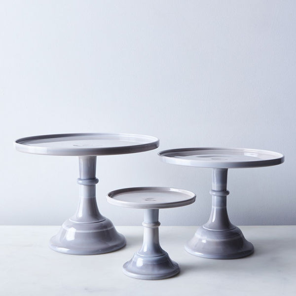 Grey Milk Glass Cake Stand
