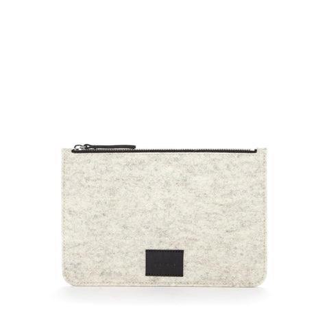 Graf Lantz Large Flat Felt Pouch Heather White