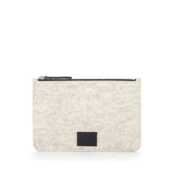 Graf Lantz Large Flat Felt Pouch- Heather White