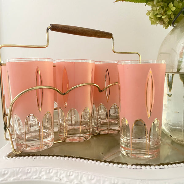 Set of 8 Vintage Pink & Gold MC Tumblers in Brass Caddy
