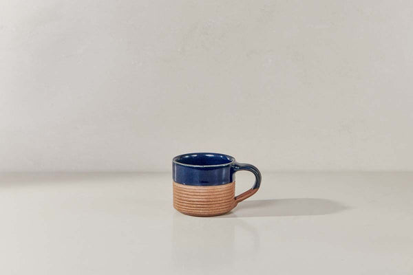 Mali Ribbed Espresso Mug- Navy and Terracotta