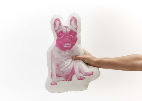 Dog Pillow- French Bulldog in Pop Pink