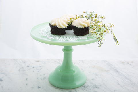 Jade Milk Glass Cake Stand