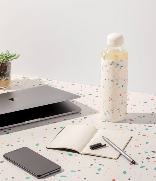 Porter Glass and Silicon Reusable Water Bottle in Terrazzo Cream