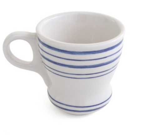 WHITE & BLUE STRIP MACCHIATO CUP & SAUCER