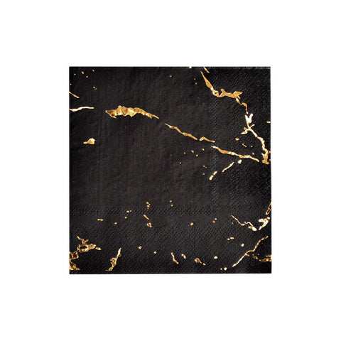 Cocktail Napkin- Black & Gold Marble