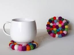 Felt Ball Wool Coaster Kitchen Accessory