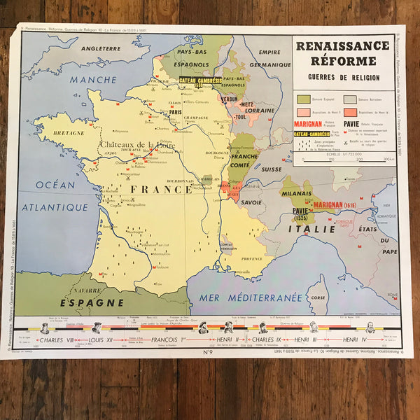 Vintage Double-Sided French Teaching Aides/Charts