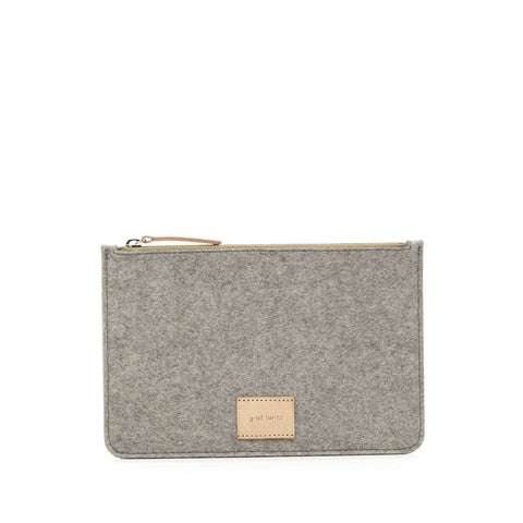 Graf Lantz Large Flat Felt Pouch in Granite
