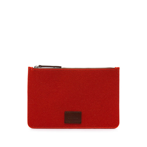 Graf Lantz Large Flat Felt Pouch in Orange
