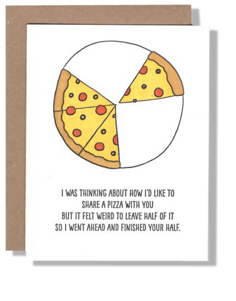 Half Pizza  greeting card