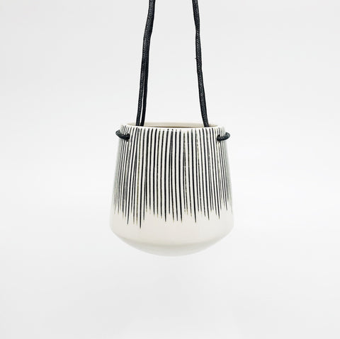 Matamba Ceramic Hanging Planter- Black Lines