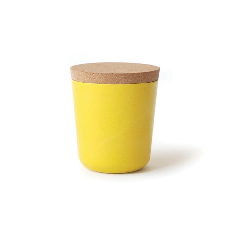Bamboo Fiber Storage Jar with Cork Lid in Lemon