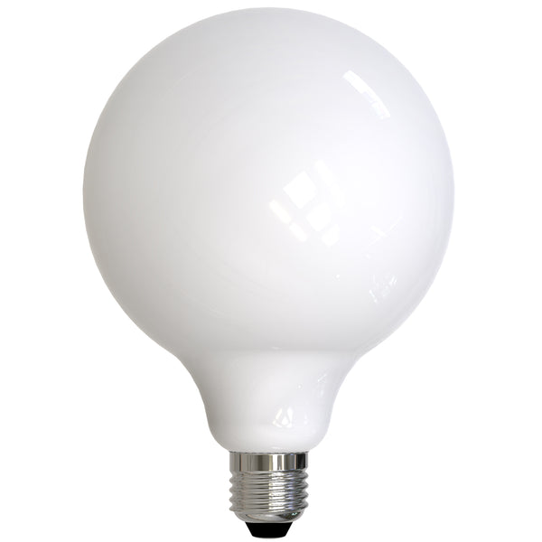 "7"" Milk Glass LED Globe Light Bulb"
