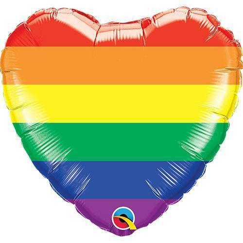 Rainbow Heart Mylar Balloon