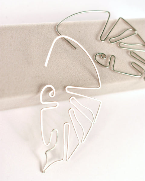 Silver Monstera Earrings by RA HA Jewelry