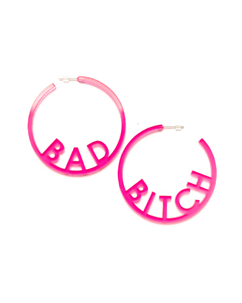 Bad Bitch Pink Acrylic Earrings by Sour Puss