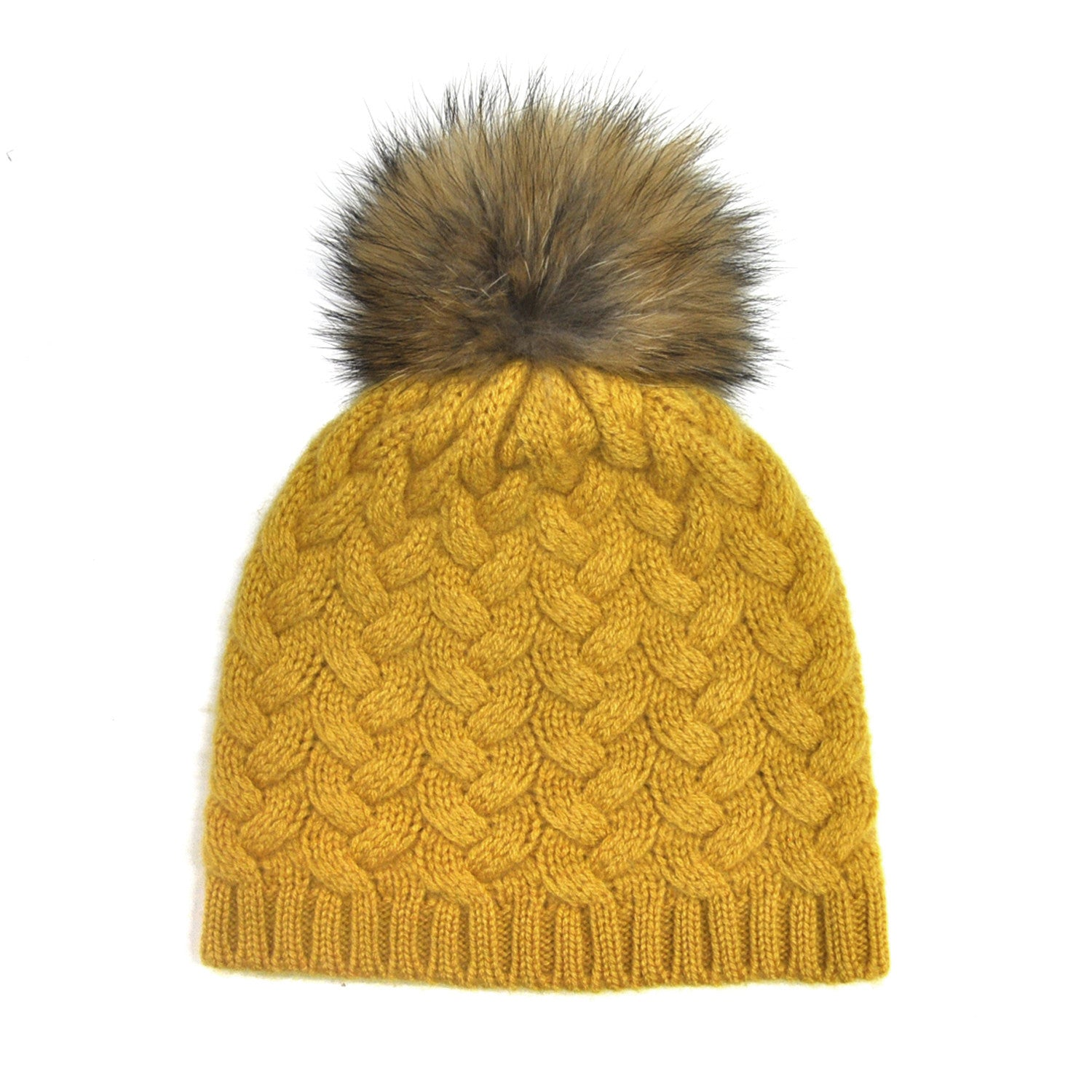 4c3155a7a66 Cashmere Cable Hat with Racoon Pom Pom - Mustard Childrens Hat JAM London