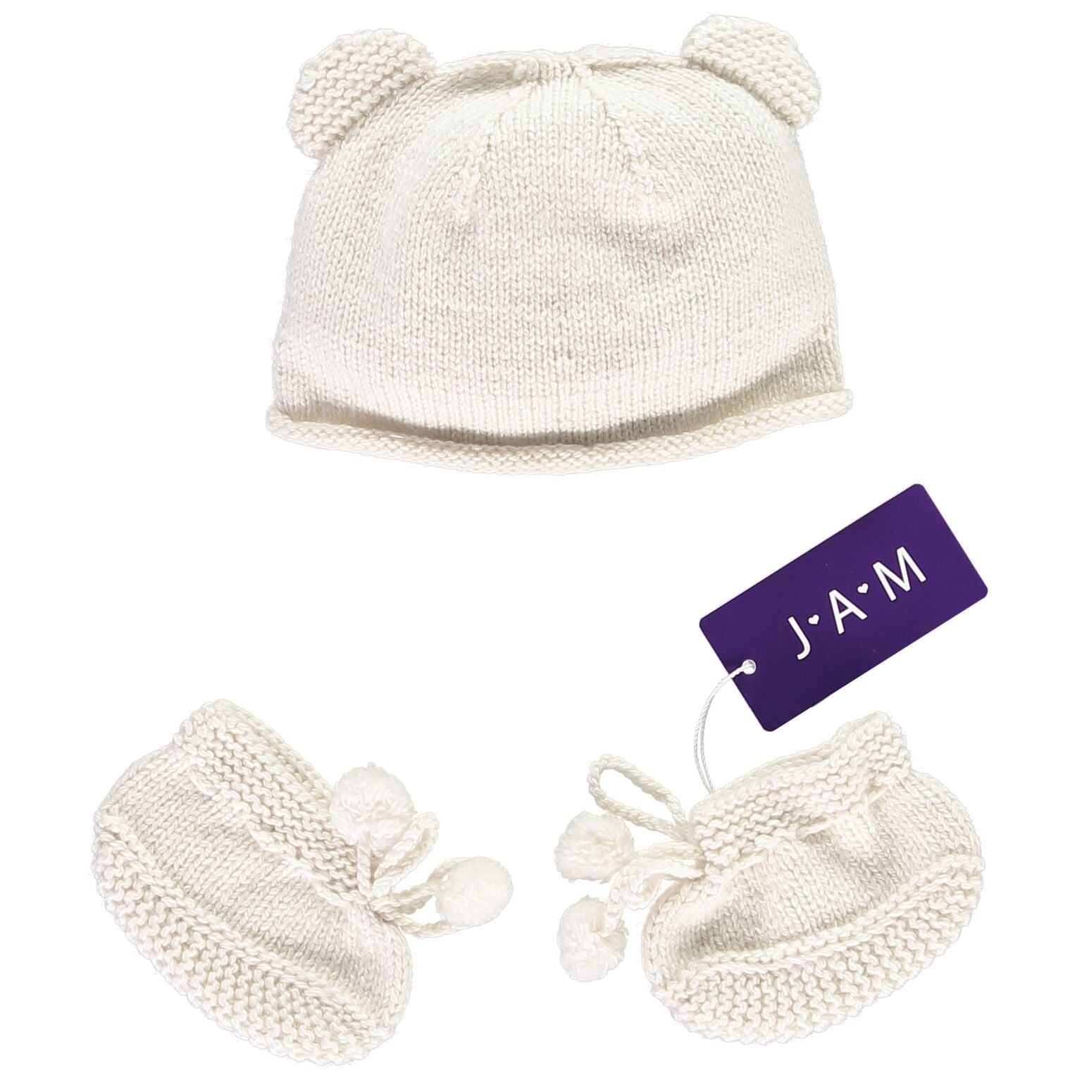 ba5093be0d0 Hand knitted Bear Hat and Booties Set - Cream Baby Hat JAM London