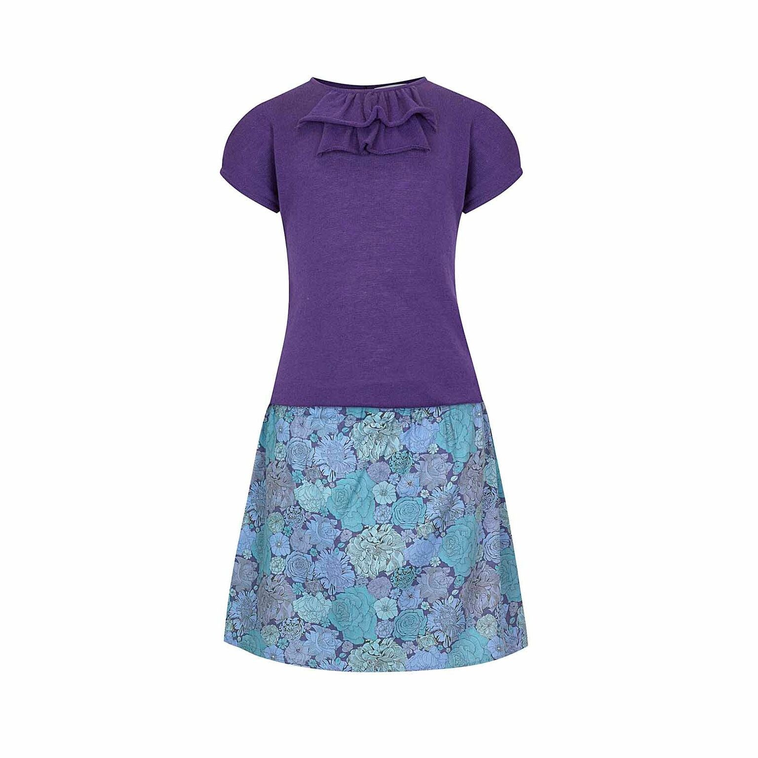 202260633c64 Lucy - Girls Summer Dress with Ruffles - Purple