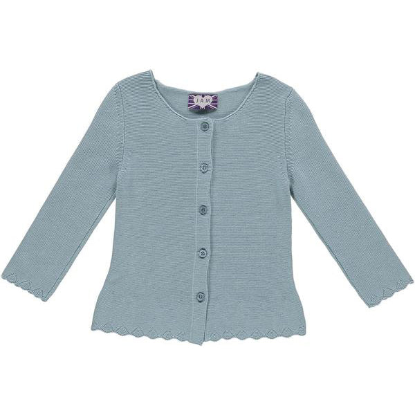 18bf4d0f177e Grace Knitted Cotton Cardigan with Scallop Hem Detail - Blue Cardigan JAM  ...