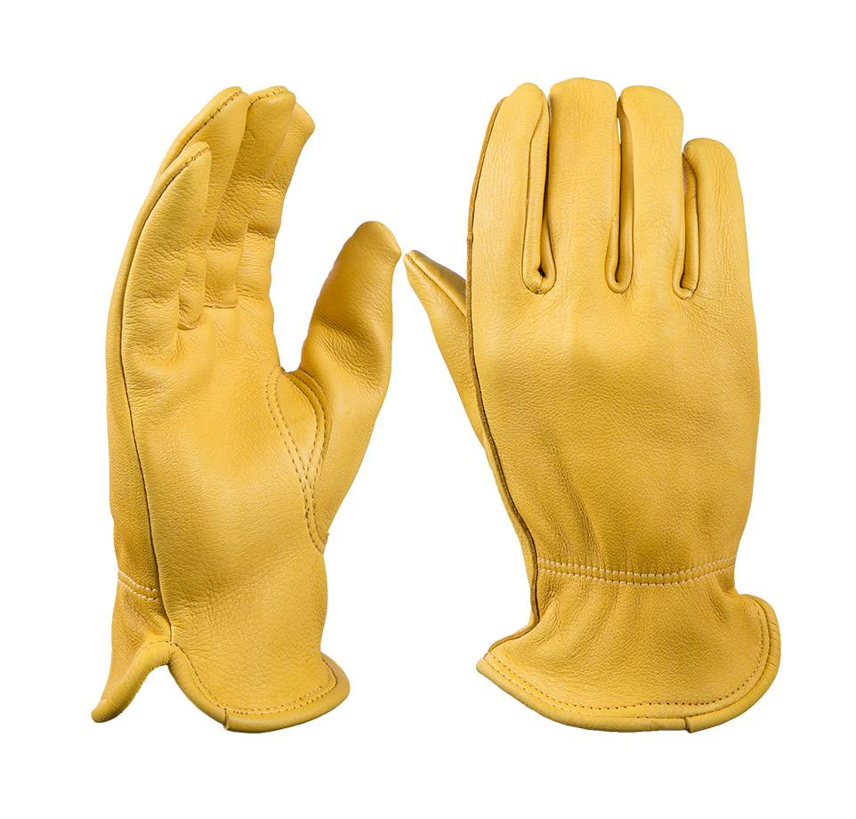 Yellow leather driving gloves - Premium Leather Work Gloves 5 Pair Yellow