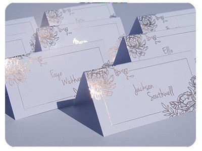 Foiled wedding name tags