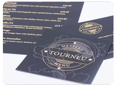 Menu design Sleeking gold foil and black soft touch
