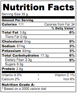 Nutritional info for Almond Blueberries Flaxseed Granola