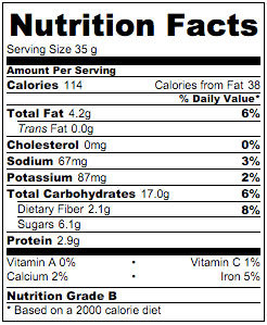 Nutritional Info - Walnut Sesame Cranberries Granola