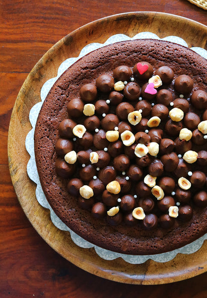 Belgian Dark Chocolate Cake (flourless) with Salted Caramel Ganache & Hazelnuts