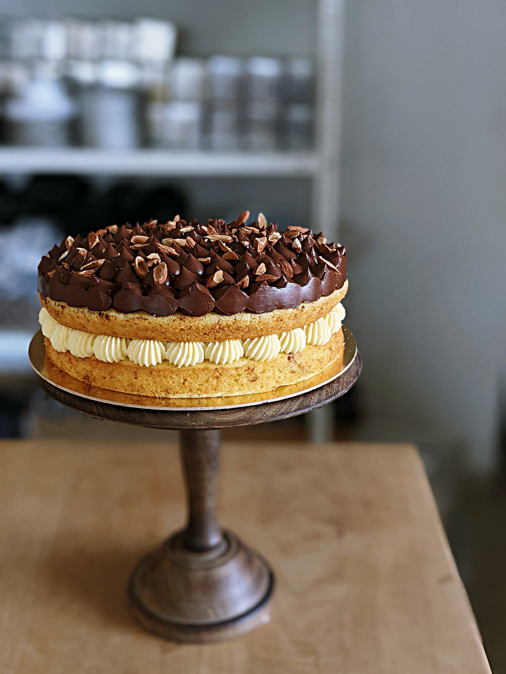 Orange Olive Oil Cream Cake with Belgian Chocolate Ganache