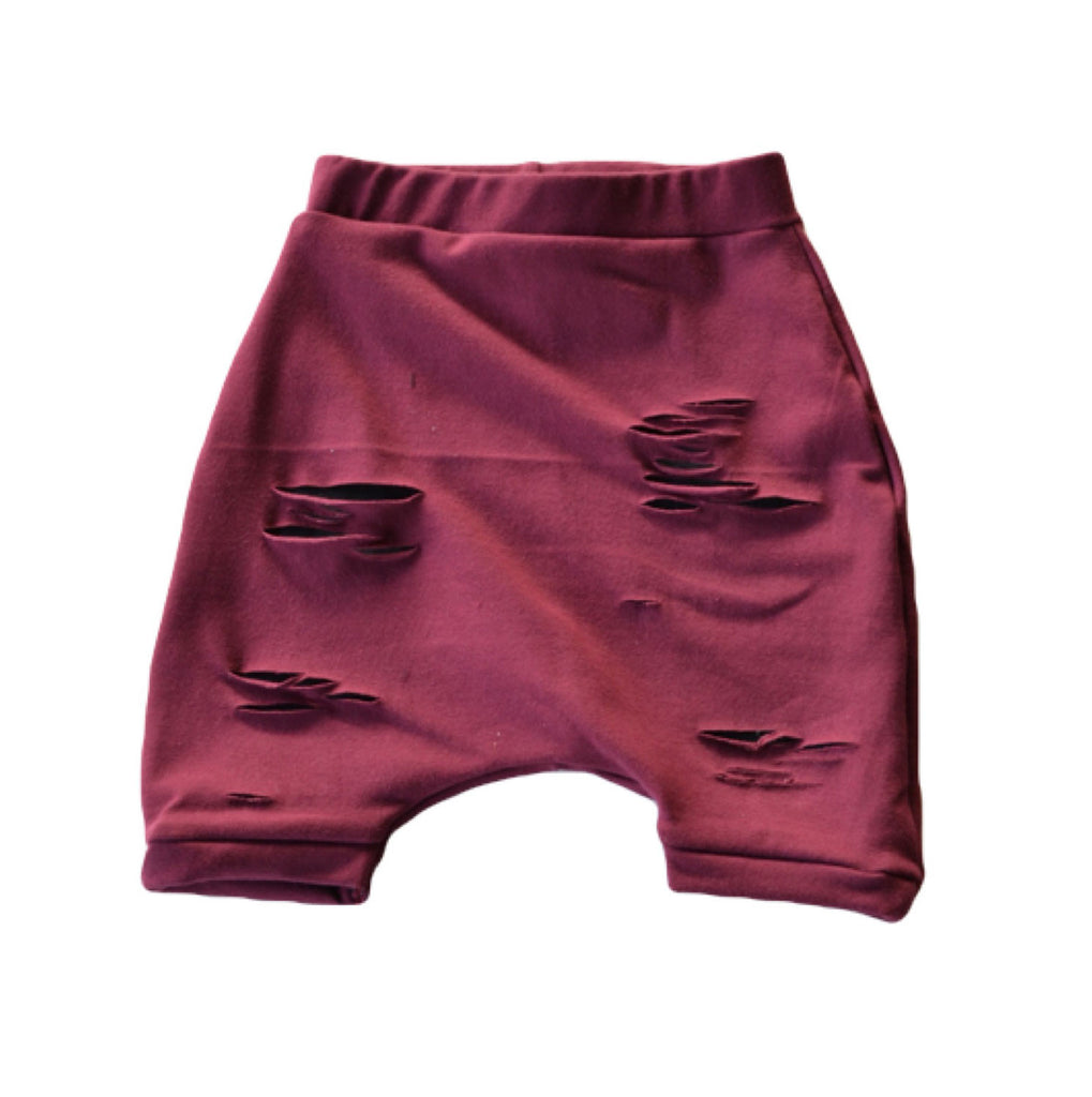 Burgundy Distressed Shorts