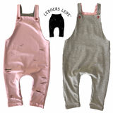 Reversible Overalls - Pink/Grey - LAST ONE, SIZE 000