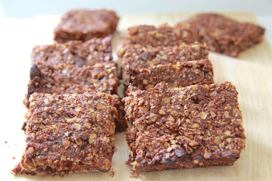 Cocoa, oat and seed flapjacks